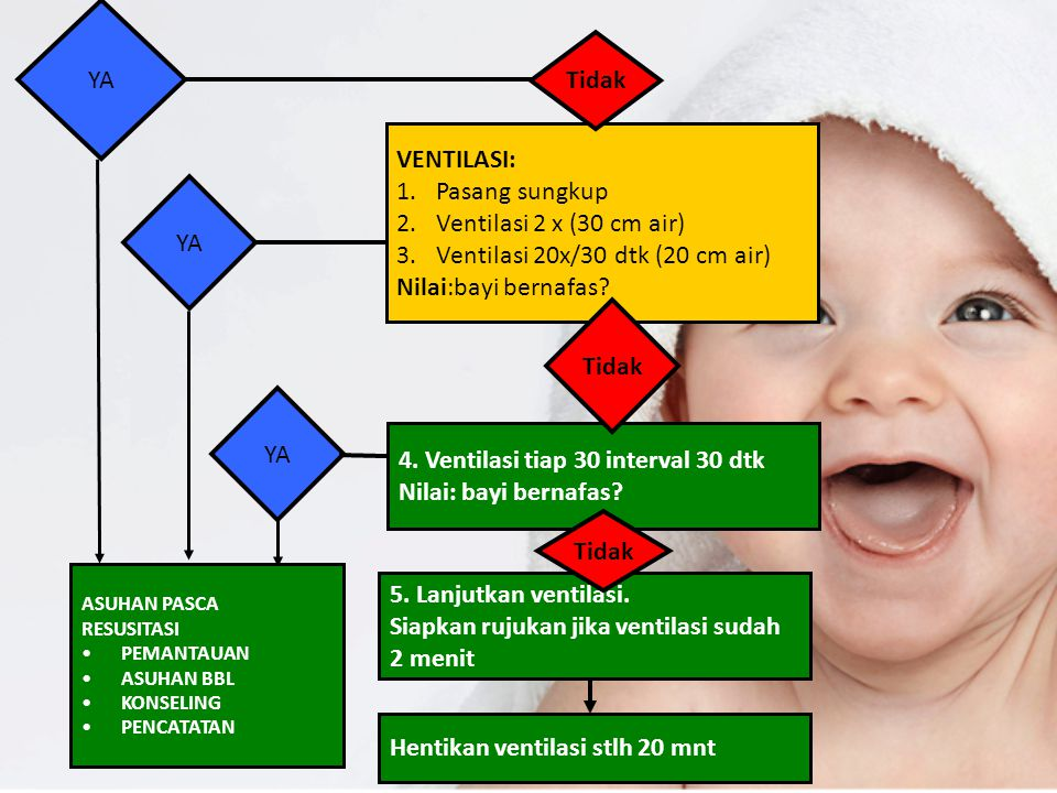 Ventilasi 20x/30 dtk (20 cm air) Nilai:bayi bernafas YA