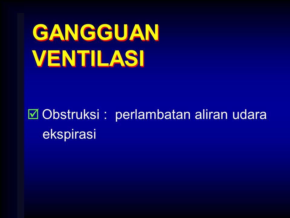 GANGGUAN VENTILASI Obstruksi : perlambatan aliran udara ekspirasi