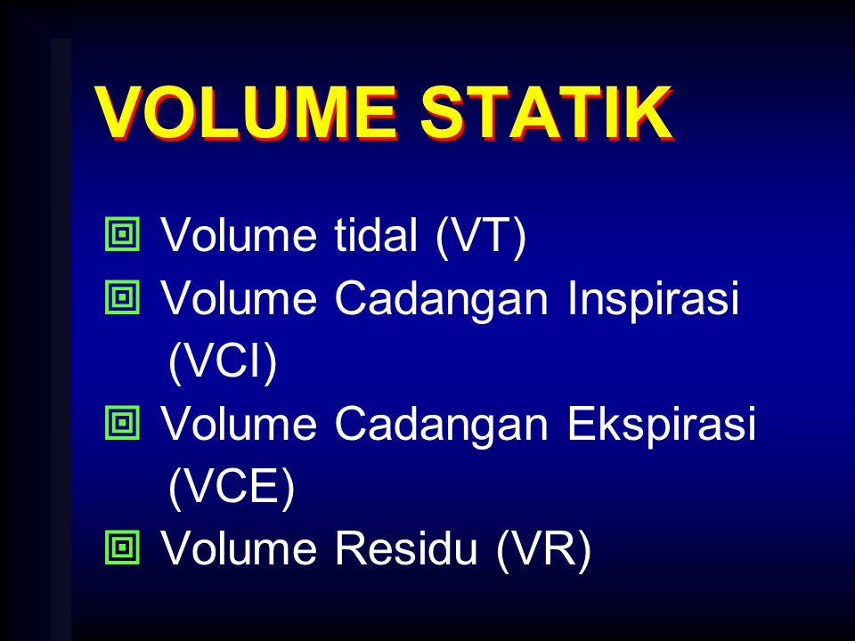 VOLUME STATIK Volume tidal (VT) Volume Cadangan Inspirasi (VCI)