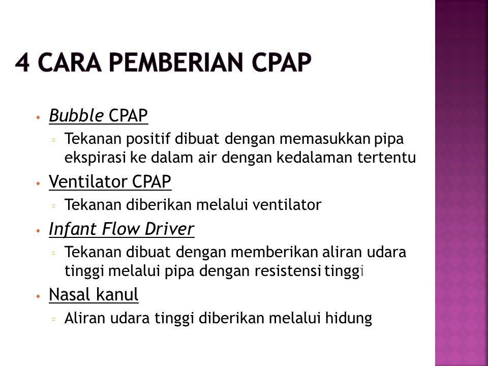 4 Cara Pemberian CPAP Bubble CPAP Ventilator CPAP Infant Flow Driver