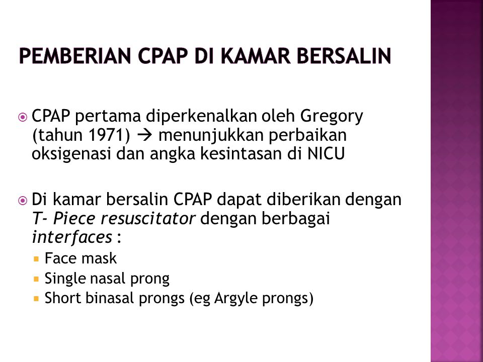 Pemberian CPAP di kamar bersalin