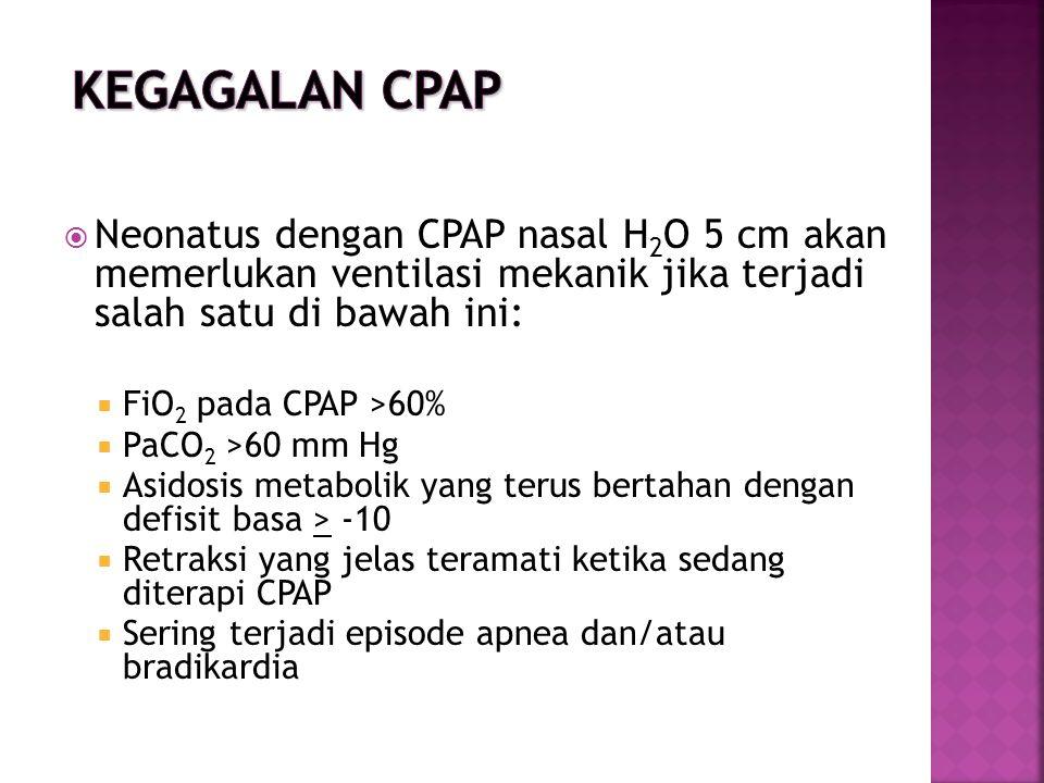 Kegagalan CPAP Neonatus dengan CPAP nasal H2O 5 cm akan memerlukan ventilasi mekanik jika terjadi salah satu di bawah ini: