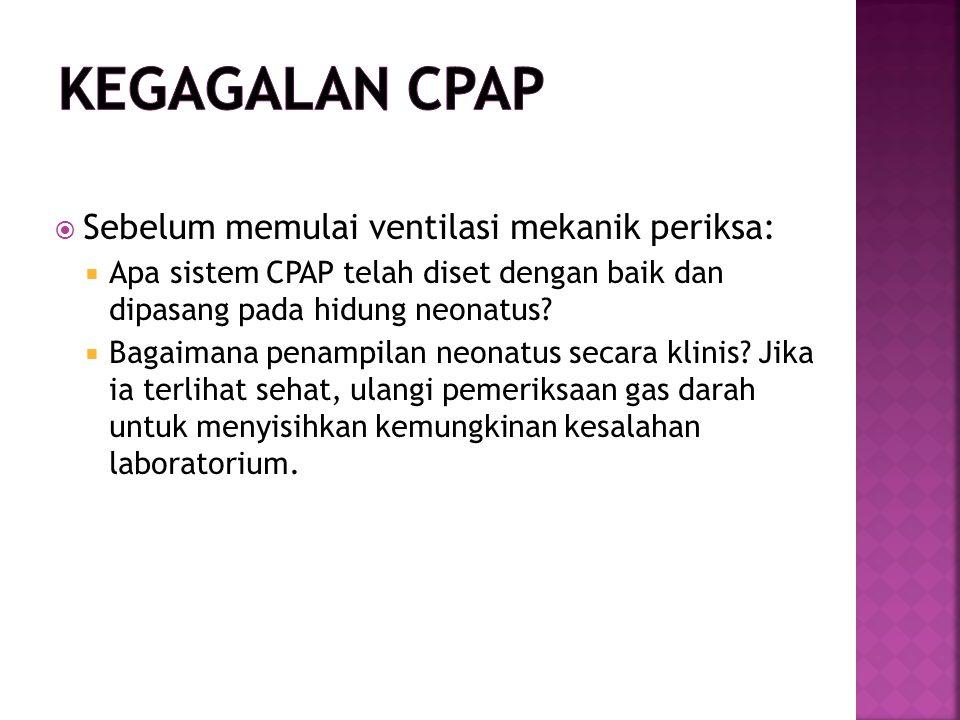 Kegagalan CPAP Sebelum memulai ventilasi mekanik periksa: