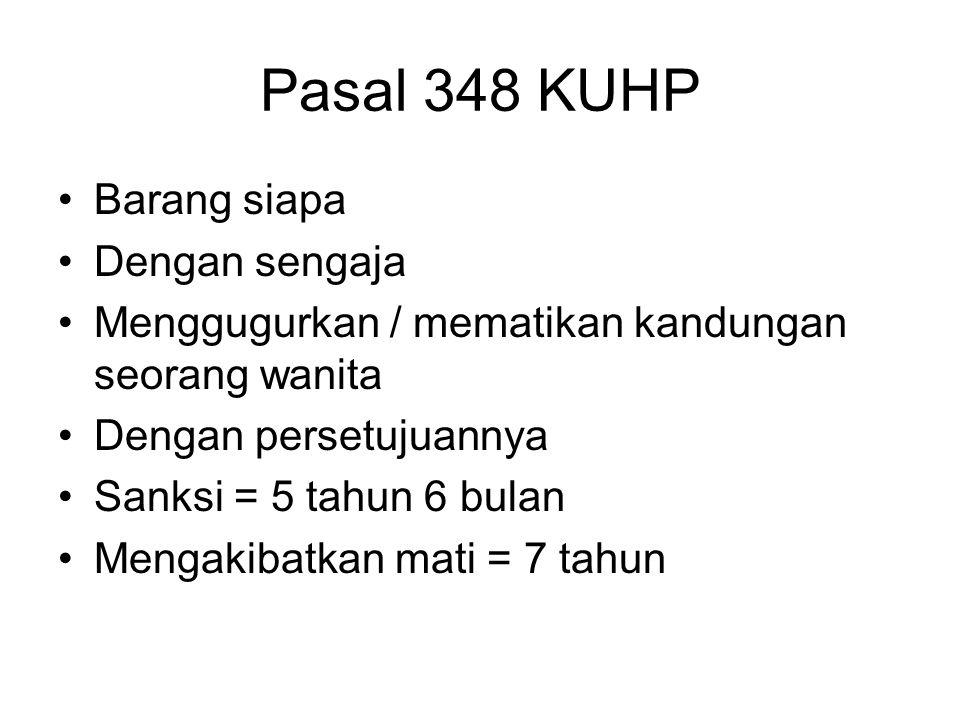 Pasal 348 KUHP Barang siapa Dengan sengaja