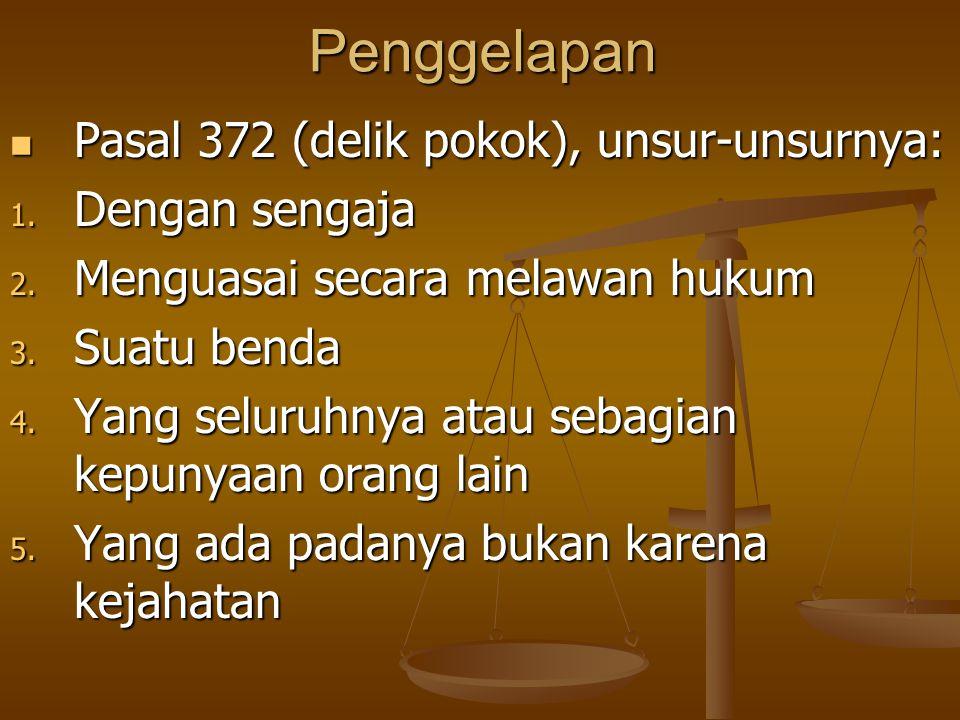Penggelapan Pasal 372 (delik pokok), unsur-unsurnya: Dengan sengaja