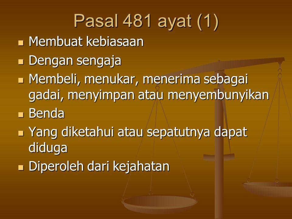 Pasal 481 ayat (1) Membuat kebiasaan Dengan sengaja