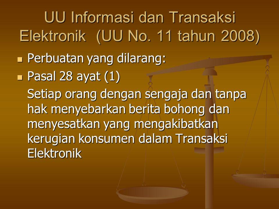 UU Informasi dan Transaksi Elektronik (UU No. 11 tahun 2008)