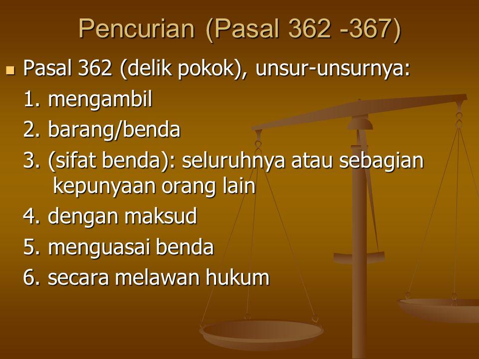 Pencurian (Pasal 362 -367) Pasal 362 (delik pokok), unsur-unsurnya: