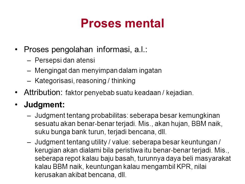 Proses mental Proses pengolahan informasi, a.l.: