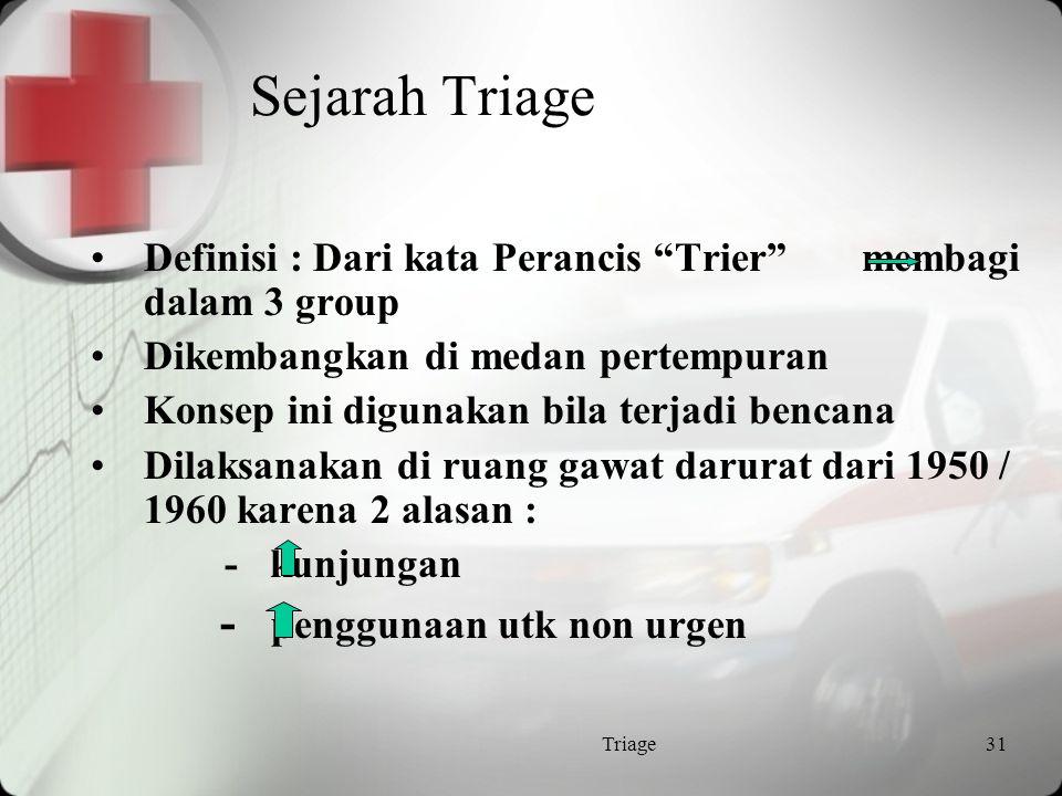 Sejarah Triage - penggunaan utk non urgen
