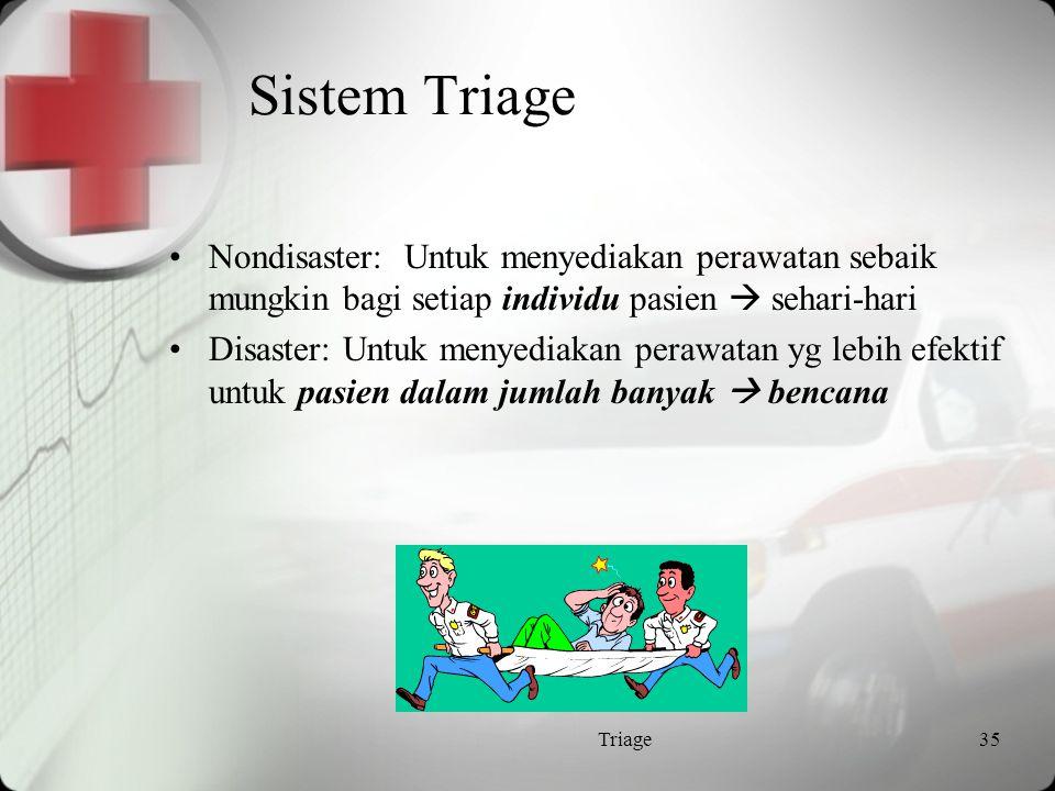 Sistem Triage Nondisaster: Untuk menyediakan perawatan sebaik mungkin bagi setiap individu pasien  sehari-hari.