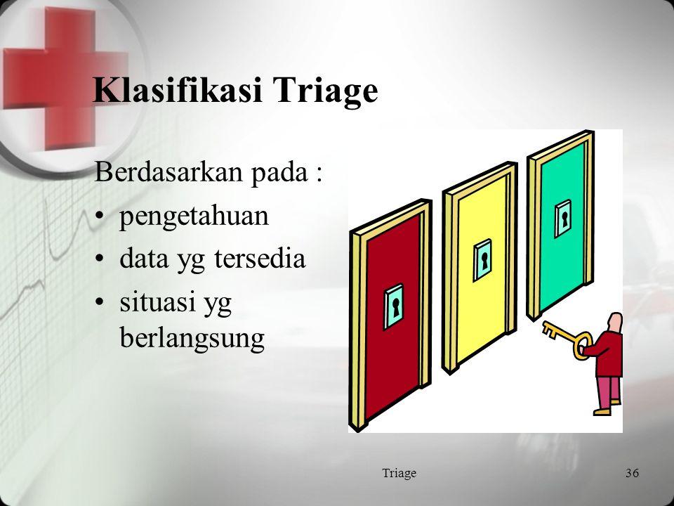 Klasifikasi Triage Berdasarkan pada : pengetahuan data yg tersedia
