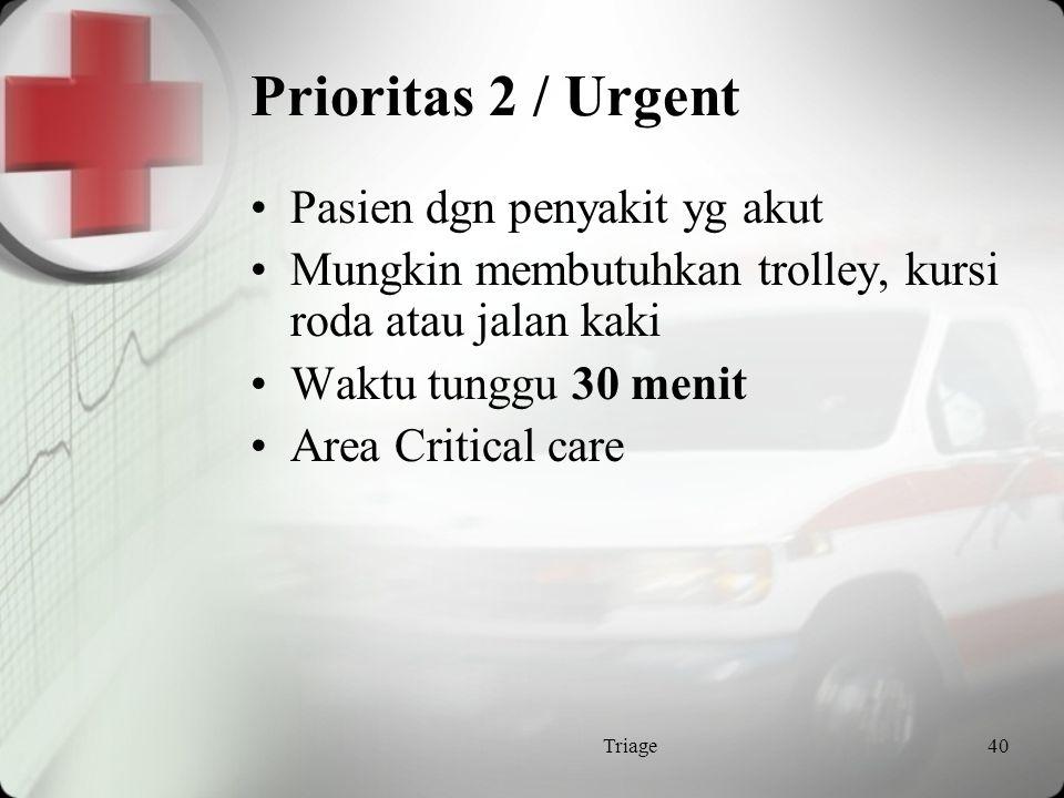 Prioritas 2 / Urgent Pasien dgn penyakit yg akut