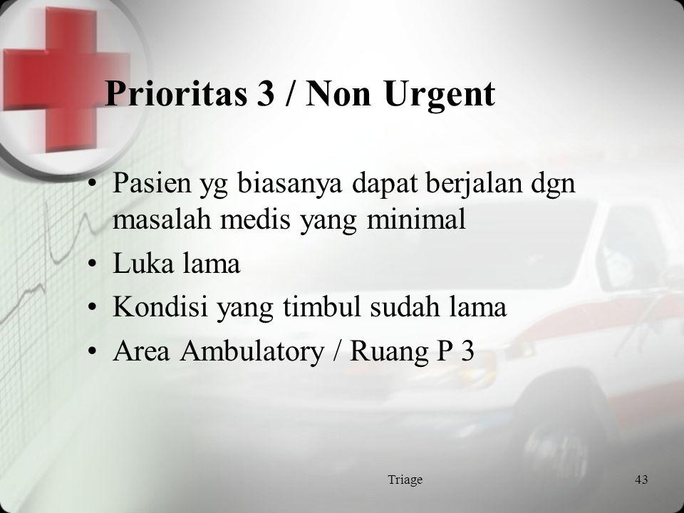Prioritas 3 / Non Urgent Pasien yg biasanya dapat berjalan dgn masalah medis yang minimal. Luka lama.