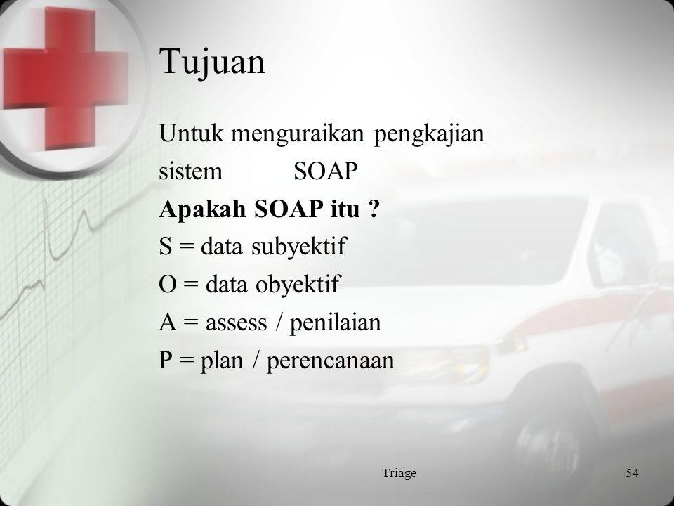 Tujuan Untuk menguraikan pengkajian sistem SOAP Apakah SOAP itu S = data subyektif O = data obyektif A = assess / penilaian P = plan / perencanaan