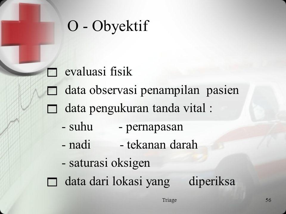O - Obyektif evaluasi fisik data observasi penampilan pasien