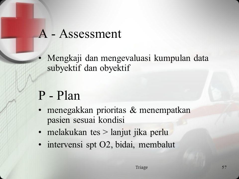 A - Assessment Mengkaji dan mengevaluasi kumpulan data subyektif dan obyektif. P - Plan. menegakkan prioritas & menempatkan pasien sesuai kondisi.