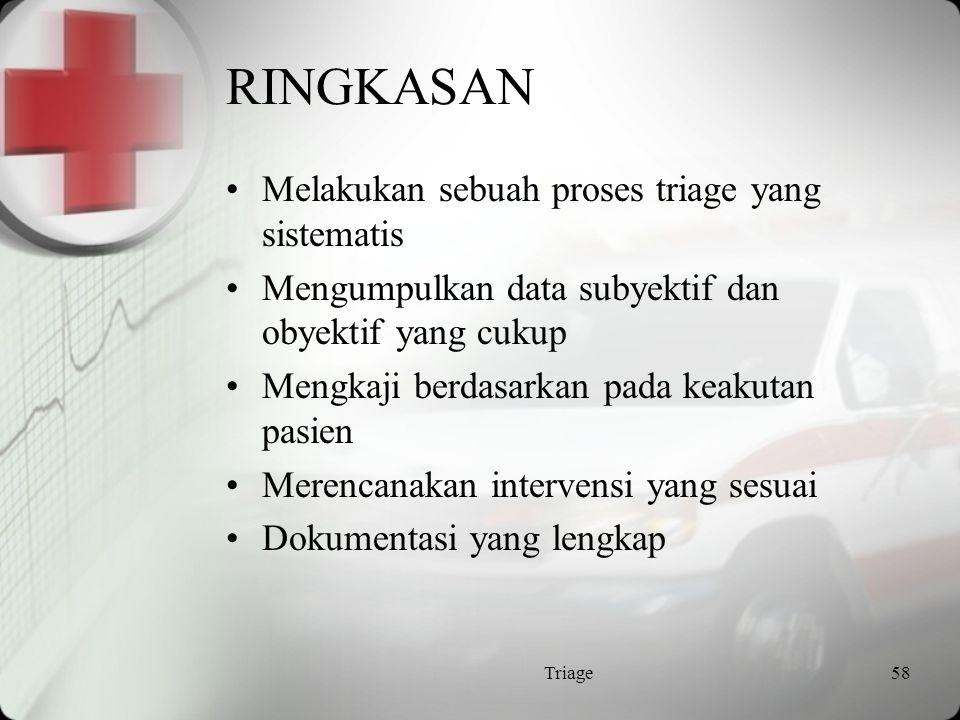 RINGKASAN Melakukan sebuah proses triage yang sistematis