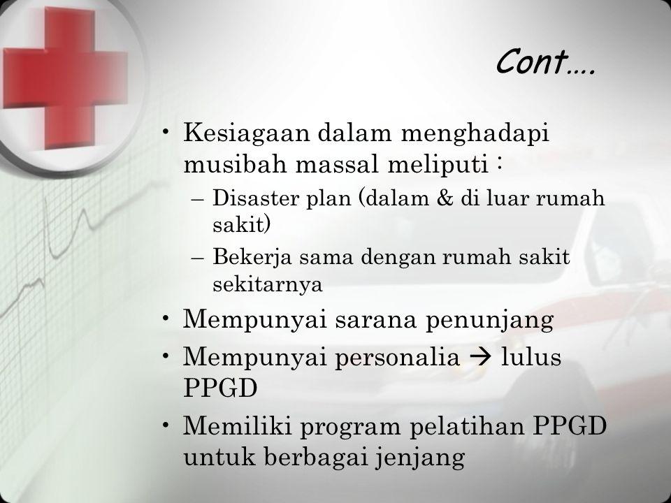 Cont…. Kesiagaan dalam menghadapi musibah massal meliputi :