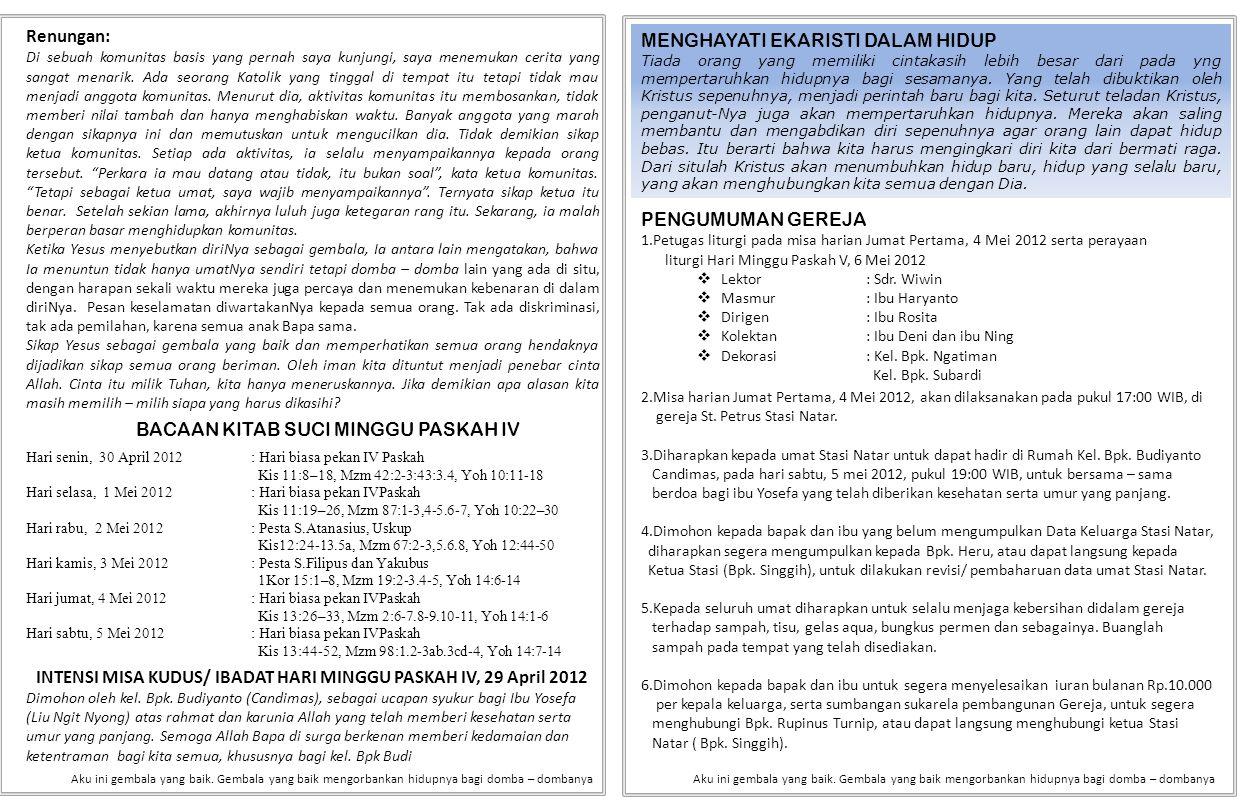 INTENSI MISA KUDUS/ IBADAT HARI MINGGU PASKAH IV, 29 April 2012