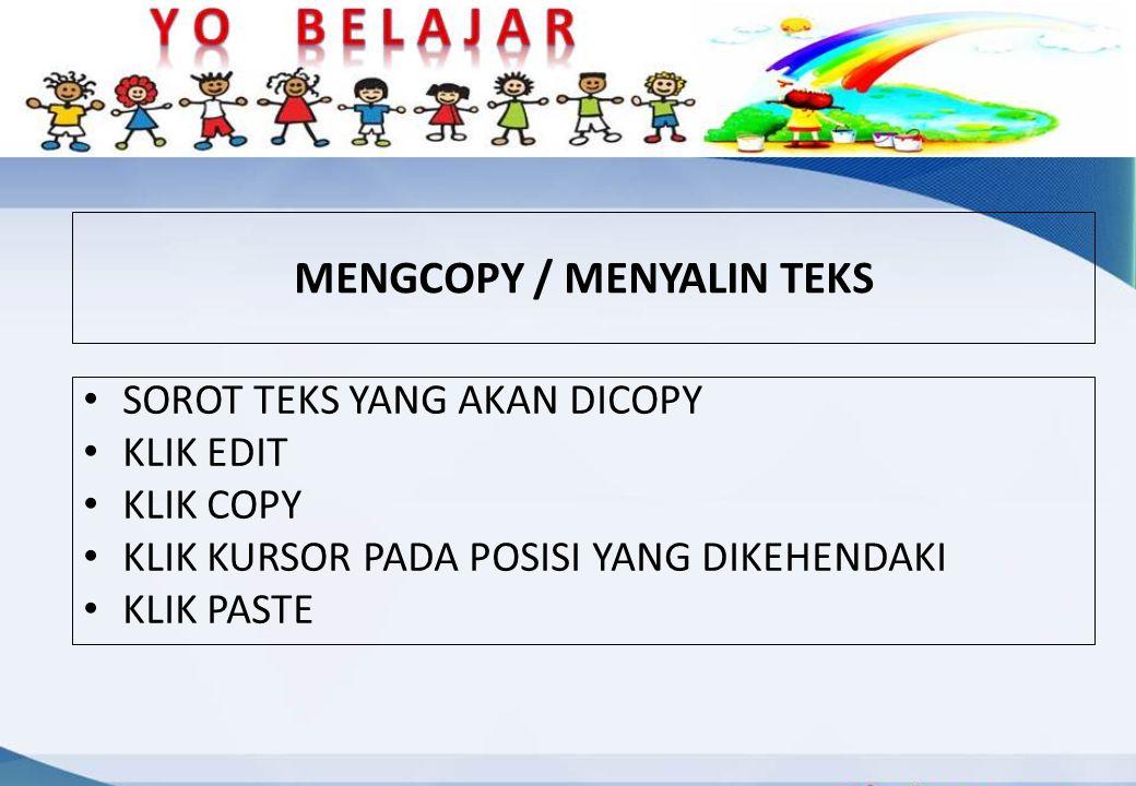 MENGCOPY / MENYALIN TEKS
