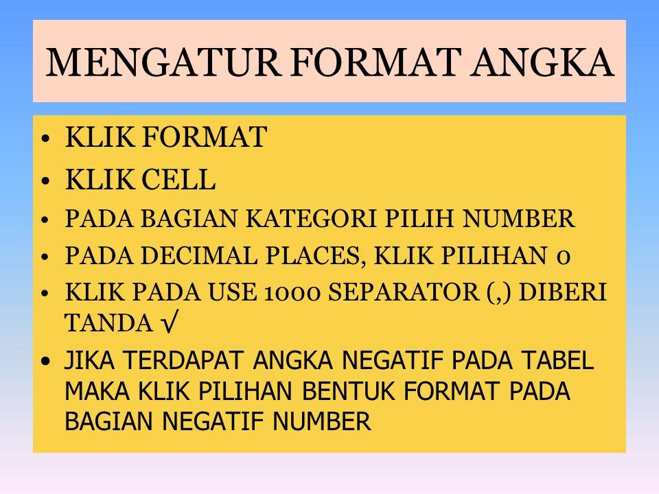 MENGATUR FORMAT ANGKA KLIK FORMAT KLIK CELL