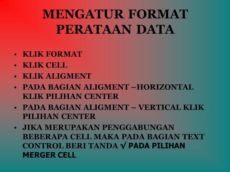 MENGATUR FORMAT PERATAAN DATA