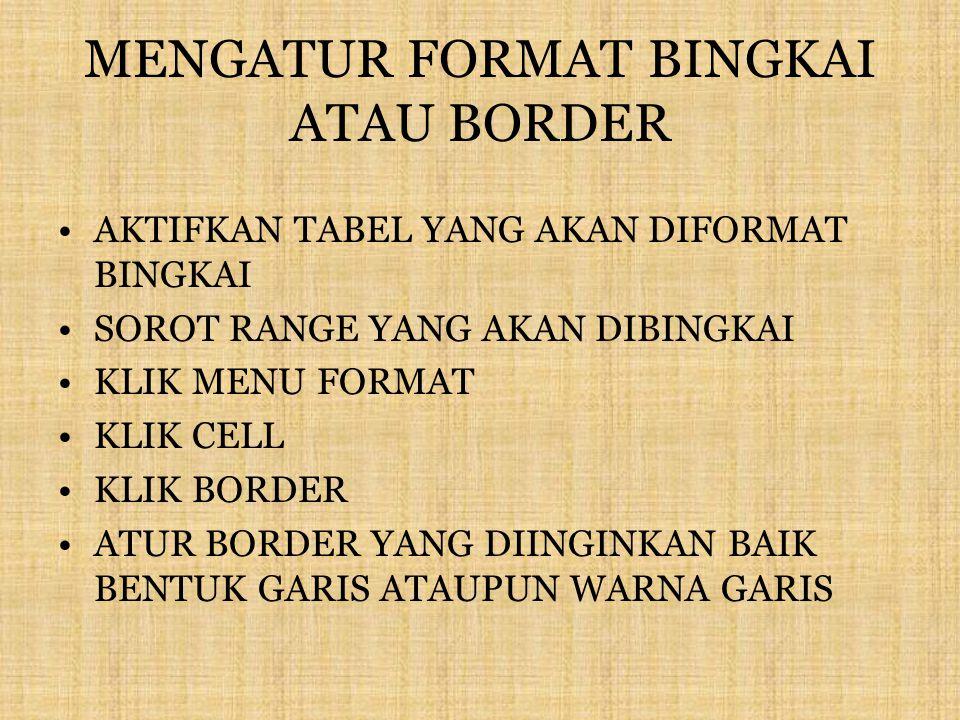 MENGATUR FORMAT BINGKAI ATAU BORDER