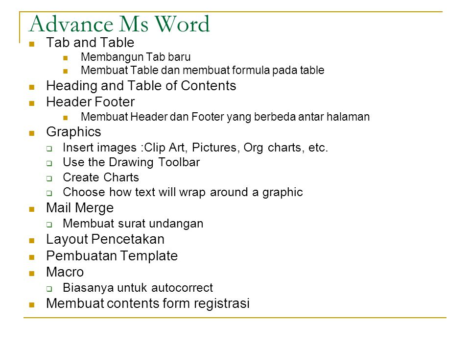 Advance Ms Word Tab and Table Heading and Table of Contents