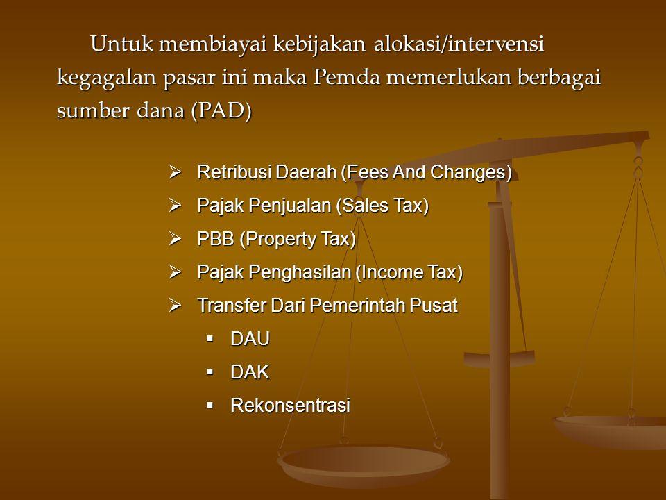 Untuk membiayai kebijakan alokasi/intervensi kegagalan pasar ini maka Pemda memerlukan berbagai sumber dana (PAD)