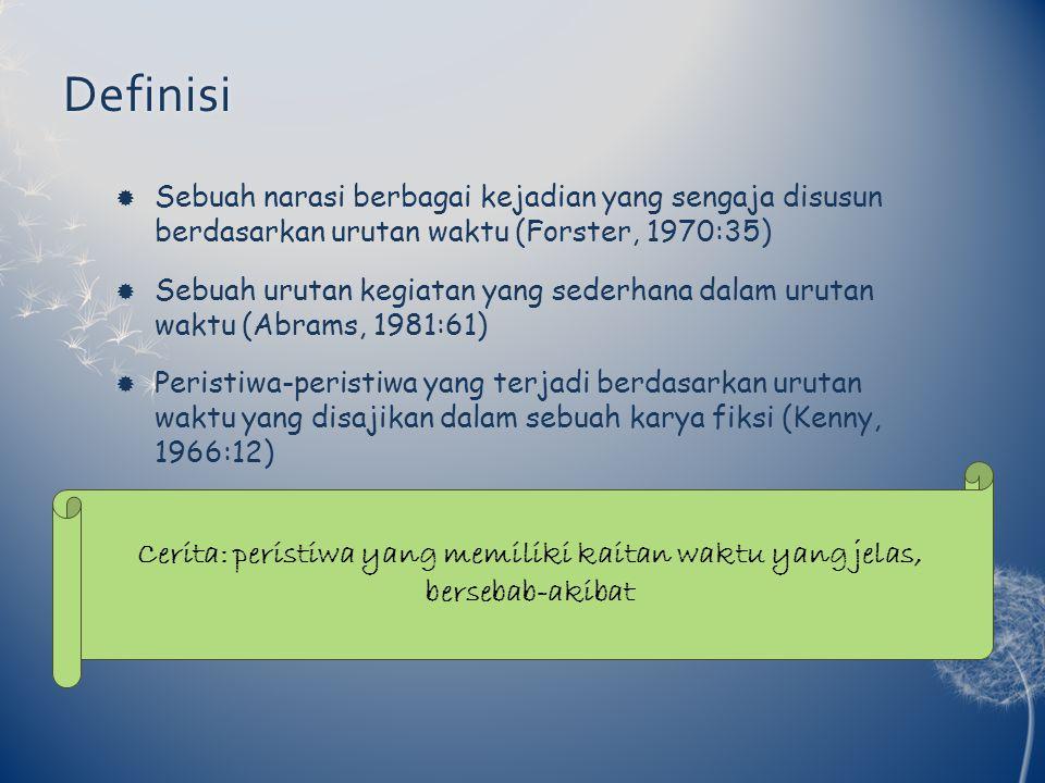 Definisi Sebuah narasi berbagai kejadian yang sengaja disusun berdasarkan urutan waktu (Forster, 1970:35)