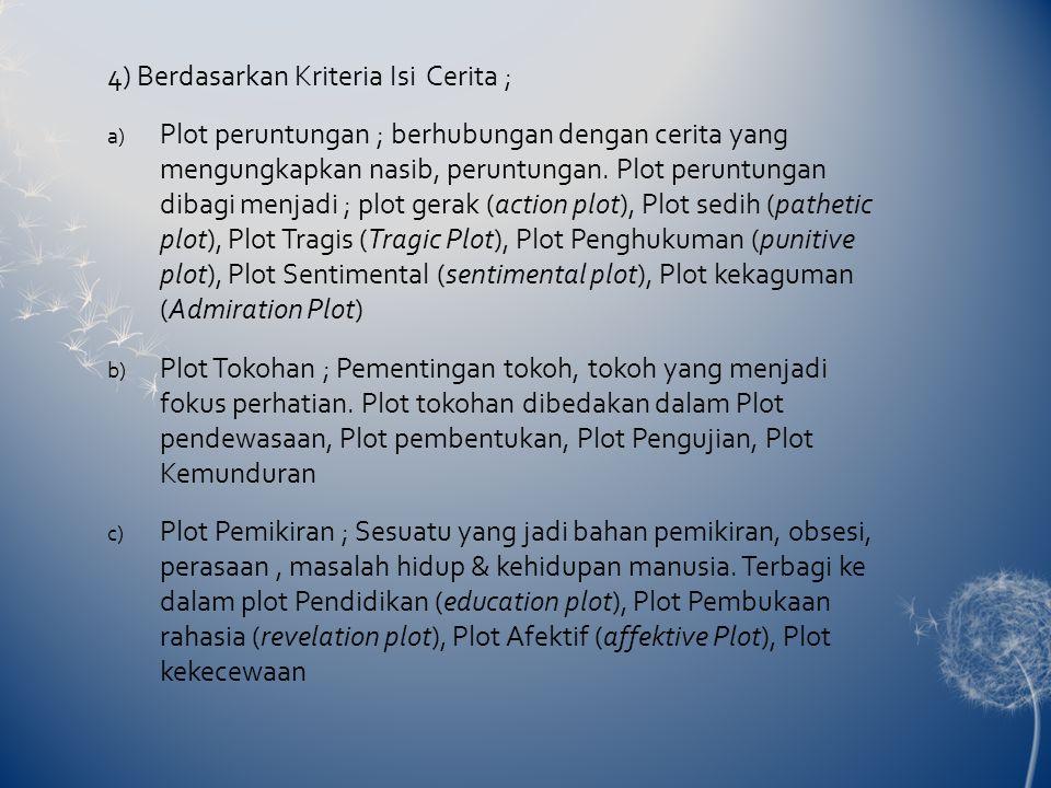 4) Berdasarkan Kriteria Isi Cerita ;