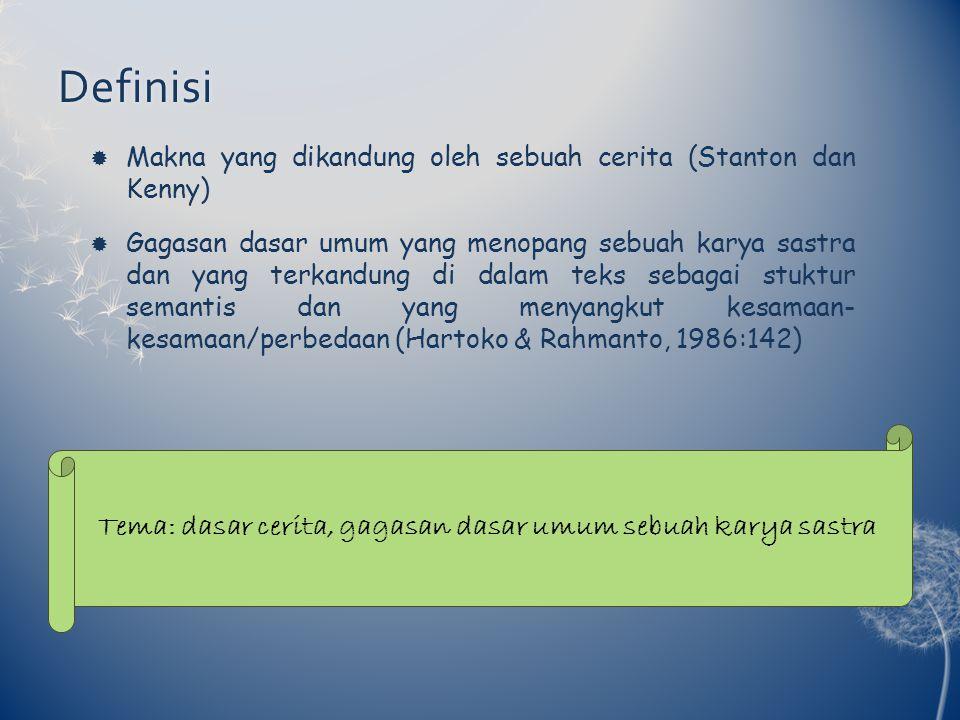 Tema: dasar cerita, gagasan dasar umum sebuah karya sastra