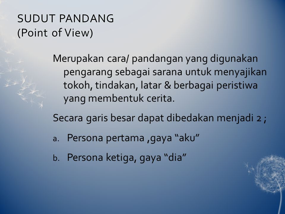SUDUT PANDANG (Point of View)