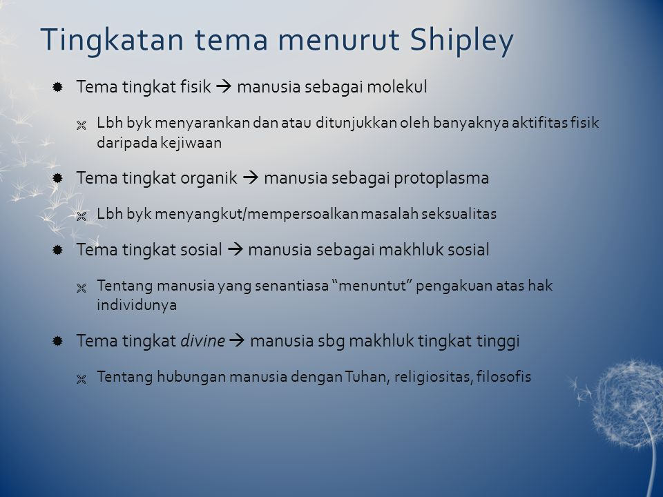 Tingkatan tema menurut Shipley