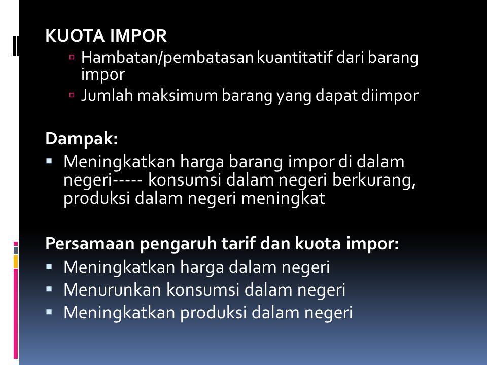 Persamaan pengaruh tarif dan kuota impor: