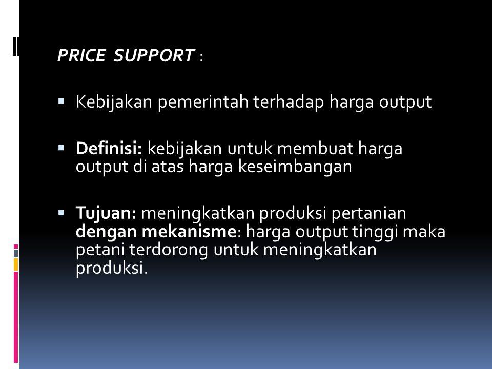 PRICE SUPPORT : Kebijakan pemerintah terhadap harga output. Definisi: kebijakan untuk membuat harga output di atas harga keseimbangan.