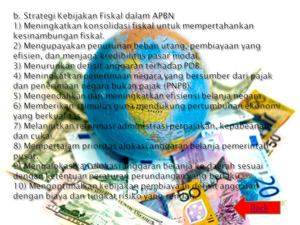 b. Strategi Kebijakan Fiskal dalam APBN 1) Meningkatkan konsolidasi fiskal untuk mempertahankan kesinambungan fiskal. 2) Mengupayakan penurunan beban utang, pembiayaan yang efisien, dan menjaga kredibilitas pasar modal. 3) Menurunkan defisit anggaran terhadap PDB. 4) Meningkatkan penerimaan negara yang bersumber dari pajak dan penerimaan negara bukan pajak (PNPB). 5) Mengendalikan dan meningkatkan efisiensi belanja negara. 6) Memberikan stimulus guna mendukung pertumbuhan ekonomi yang berkualitas. 7) Melanjutkan reformasi administrasi perpajakan, kepabeanan, dan cukai. 8) Mempertajam prioritas alokasi anggaran belanja pemerintah pusat. 9) Mengalokasikan alokasi anggaran belanja ke daerah sesuai dengan ketentuan peraturan perundangan yang berlaku. 10) Mengoptimalkan kebijakan pembiayaan defisit anggaran dengan biaya dan tingkat risiko yang rendah.