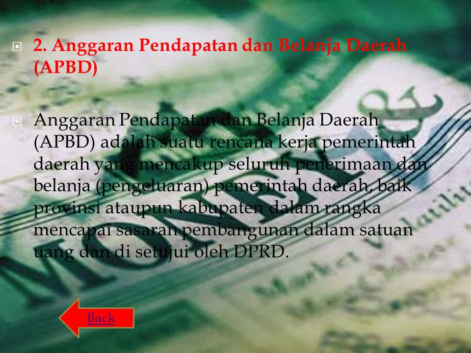 2. Anggaran Pendapatan dan Belanja Daerah (APBD)