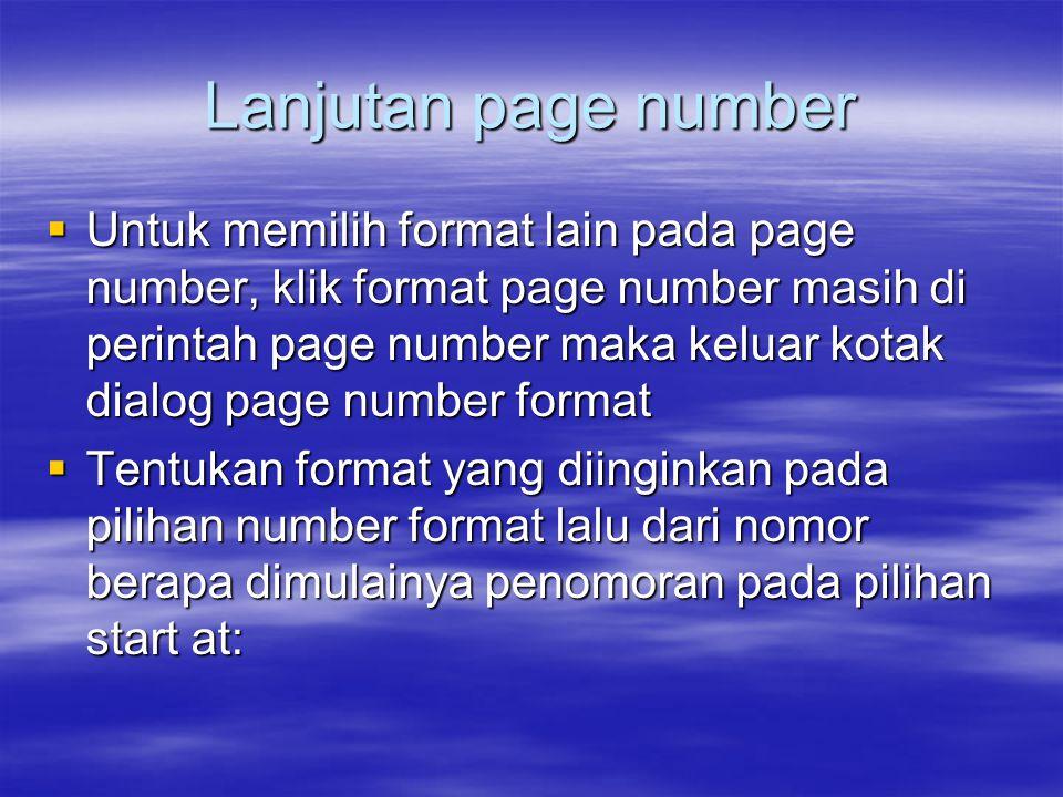 Lanjutan page number