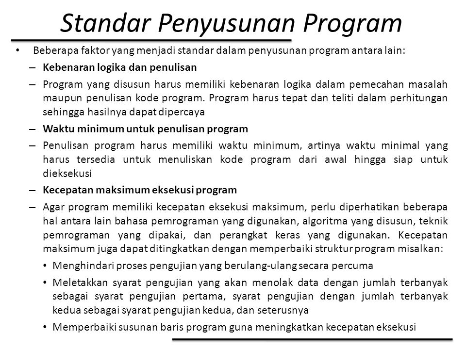 Standar Penyusunan Program