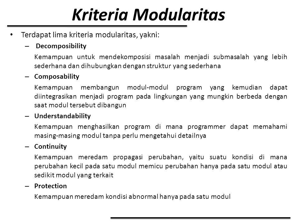 Kriteria Modularitas Terdapat lima kriteria modularitas, yakni: