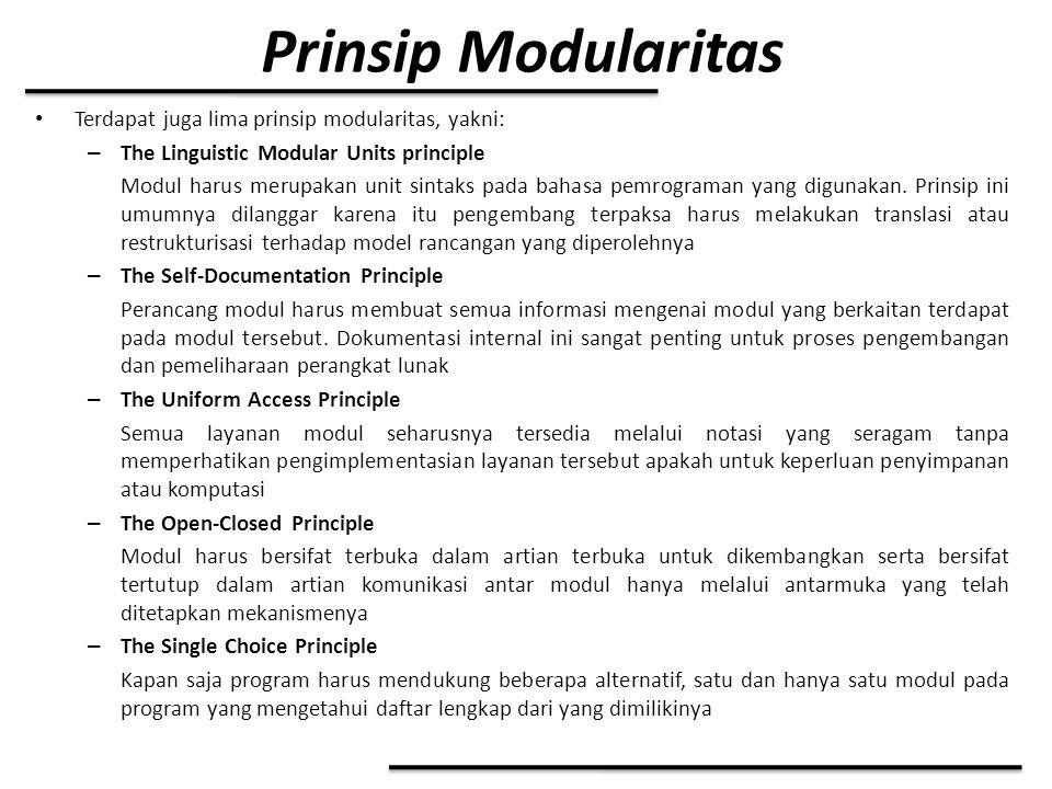 Prinsip Modularitas Terdapat juga lima prinsip modularitas, yakni: