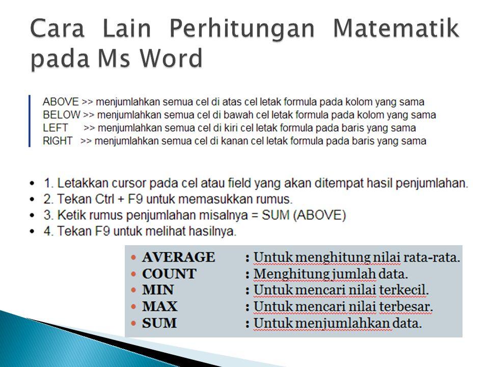 Cara Lain Perhitungan Matematik pada Ms Word