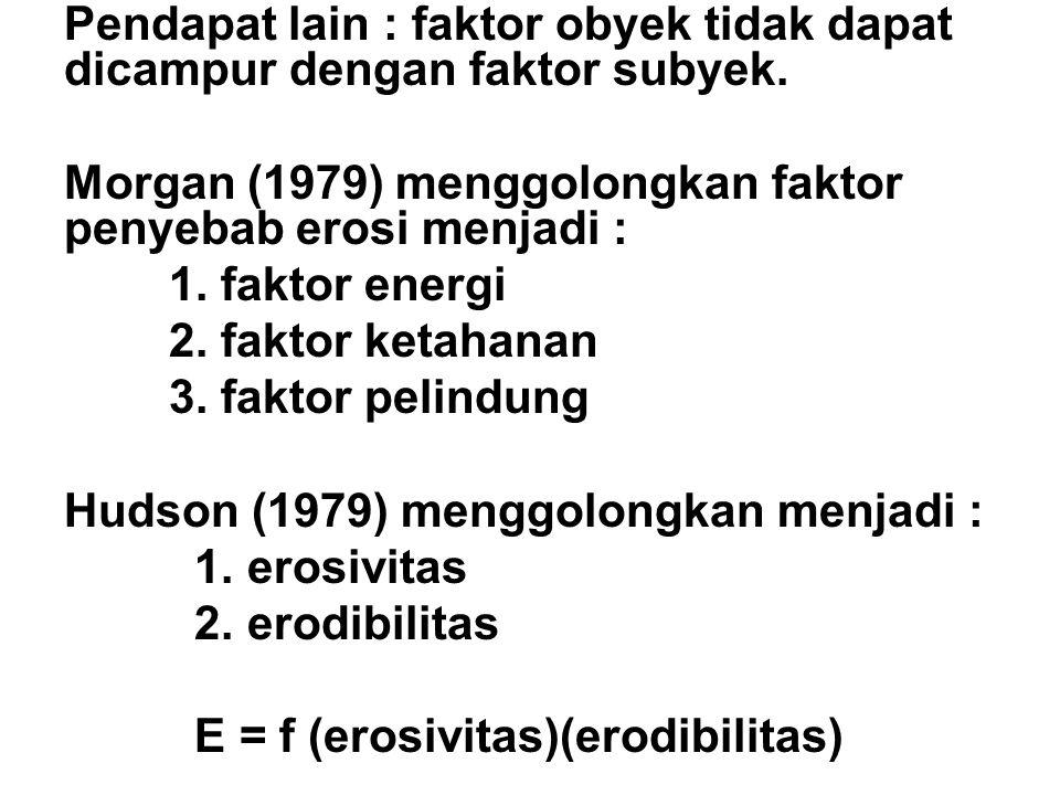 Pendapat lain : faktor obyek tidak dapat dicampur dengan faktor subyek.