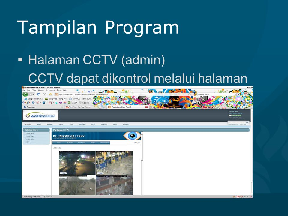 Tampilan Program Halaman CCTV (admin)