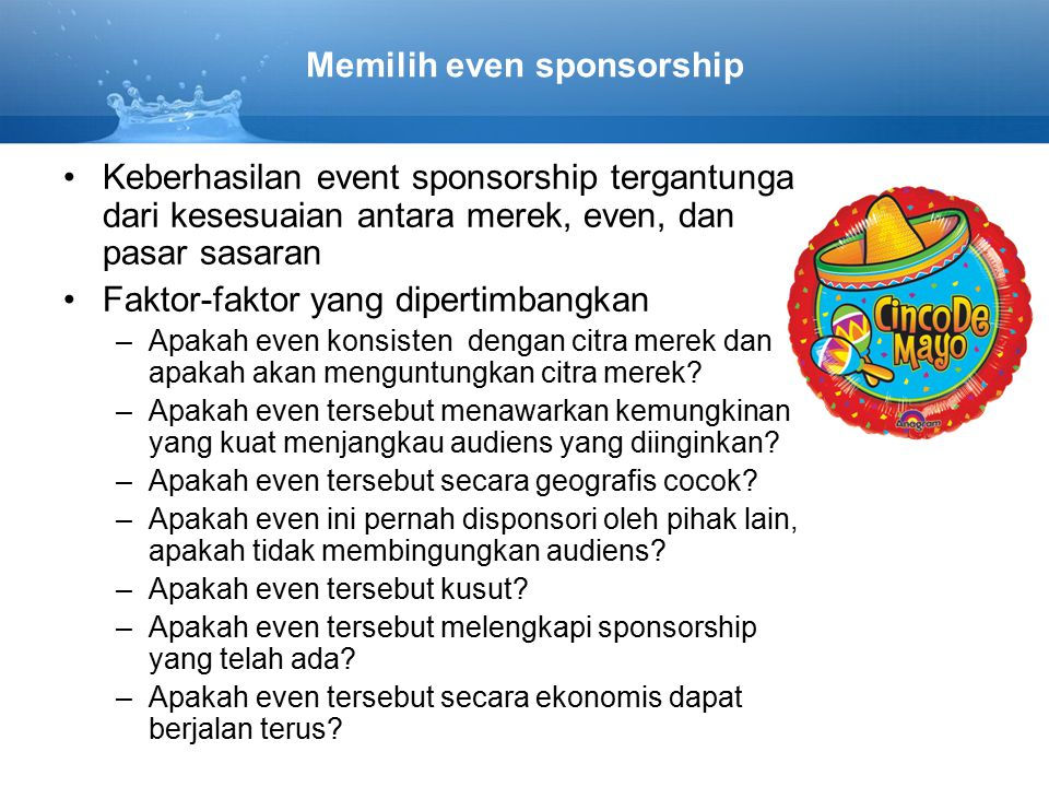 Memilih even sponsorship