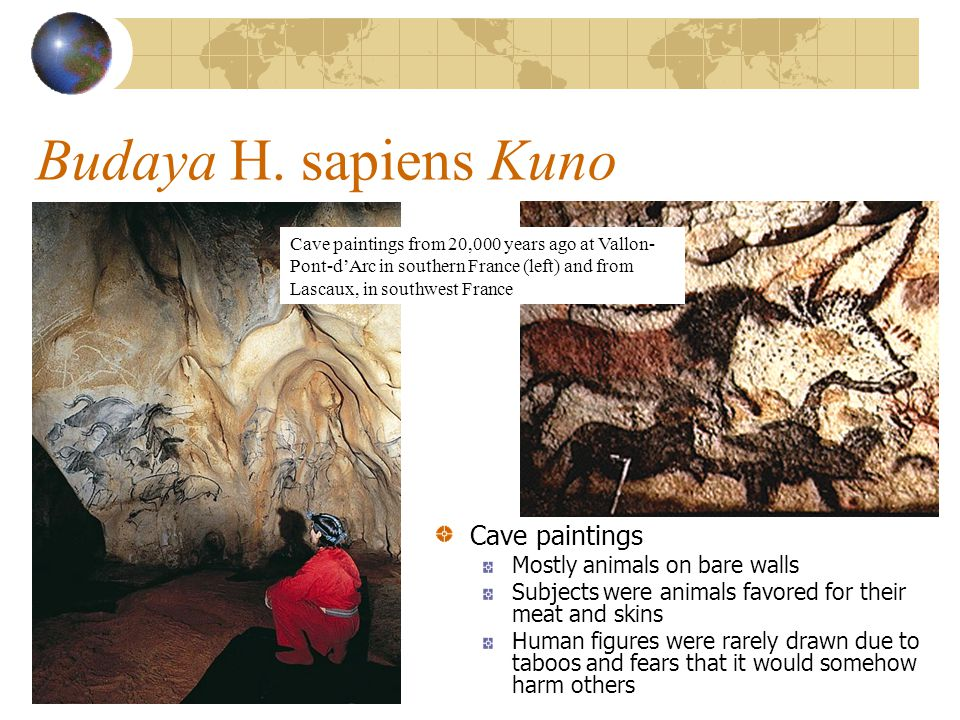 Budaya H. sapiens Kuno Cave paintings Mostly animals on bare walls