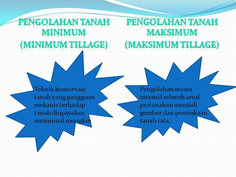 Pengolahan tanah minimum (Minimum tillage) Pengolahan tanah maksimum