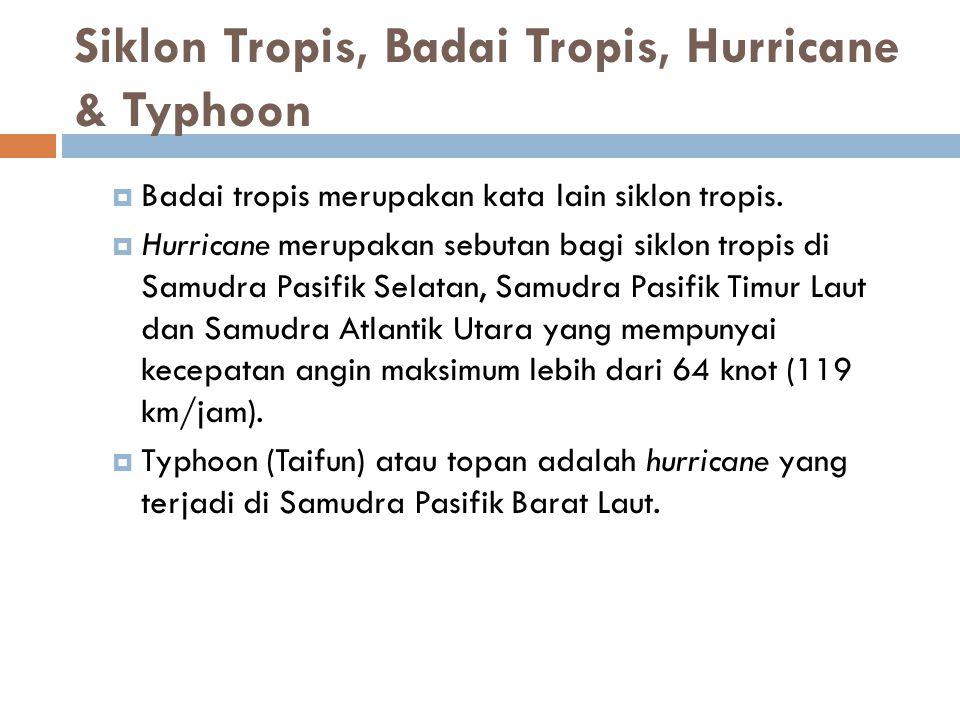Siklon Tropis, Badai Tropis, Hurricane & Typhoon